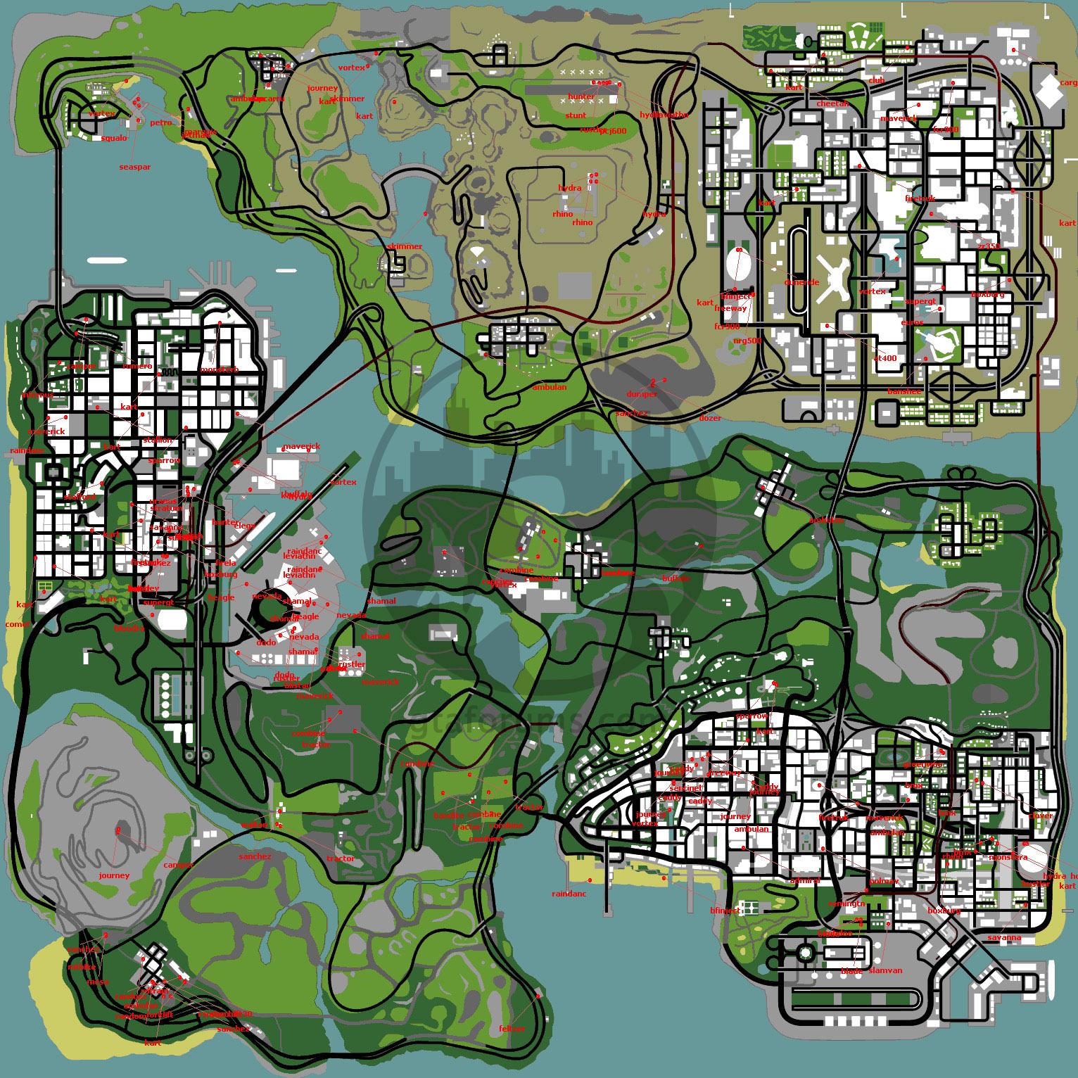 Mapa de veículos para GTA San Andreas