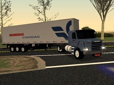 Caminh  O Scania 112H E Carreta Random Da Reunidas Cargas Para GTA San